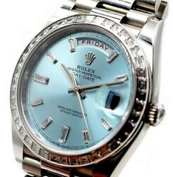 Rolex DayDate 40mm Platinum  Ice Blue Diamonds and Baguettes 228396 Box Papers