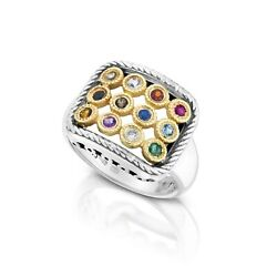 Sterling Silver And 9k Gold Hoshen Ring W 12 Semi-precious Stones - 18x14mm