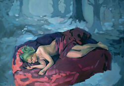 Women Girl Dream Forest Sleep Nude Naked Fantasy Bed Figurative Oil Painting Art