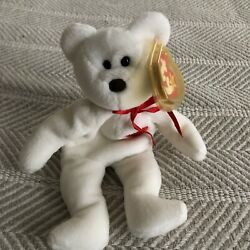 Ty Valentino Beanie Baby Bear W/stitching Andtag Errors And Brown Nose Euc Rare
