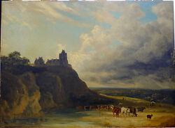 Early 19th Century Signed Original Painting Oil On Wooden Board