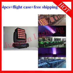 25andtimes12w Rgbw 4 In 1 Matrix Led Beam Moving Head Stage Wash Light 4pcs With Case