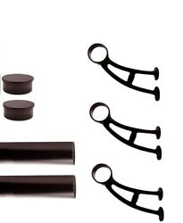 Footrailstore 9and039 Bar Foot Rail Kit Oil Rubbed Bronze 2 Tubing-3 Brackets-2 Caps