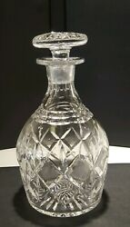 Vintage Cut Lead Crystal Liquor Decanter With Mushroom Shaped Stopper