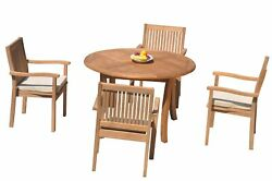 Dslv A-grade Teak 5pc Dining Set 48 Round Table 4 Stacking Arm Chairs Outdoor