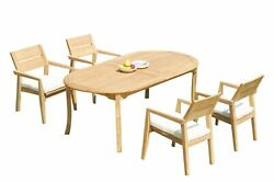 Dsvl A-grade Teak 5pc Dining Set 118 Oval Table 4 Stacking Arm Chairs Outdoor