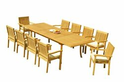 Dslv A-grade Teak 11pc Dining Set 118 Rectangle Table 10 Stacking Arm Chairs