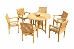 Dslv A-grade Teak 7pc Dining Set 48 Round Butterfly Table Stacking Arm Chairs