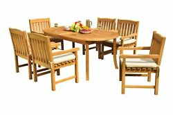 Dsdv A-grade Teak 7pc Dining Set 94 Oval Table 6 Arm Chairs Outdoor Patio