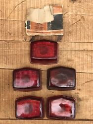 Lot Of 5 Vintage 1941-47 Pontiac Lynx Eye Ruby Glass Stop And Tail Lamp Lens
