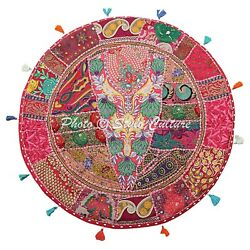 Cotton Vintage Round Patchwork Floor Pillow Cover Boho Embroidered Ethnic 32x32