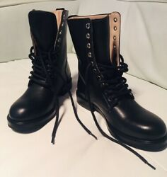 Nwt Diesel Runway Designer Style Lace Military Combat Women Leather Boots 598