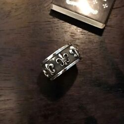 CHROME HEARTS 925 Sterling Silver BS Fluer Spinner Ring Size 4-12