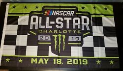 Kyle Larson Signed 3and039x 5and039 Nascar Monster Energy 2019 Allstar Race Event Flag Win