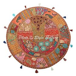 Bohemian Vintage Round Patchwork Floor Pillow Cover Embroidered Cotton 32x32