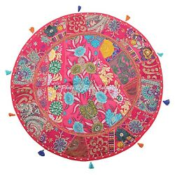 Indian Vintage Round Patchwork Floor Pillow Cover Adults Embroidered Cotton 28