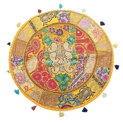 Bohemian Vintage Round Patchwork Floor Pillow Cover Kids Embroidered Cotton 28