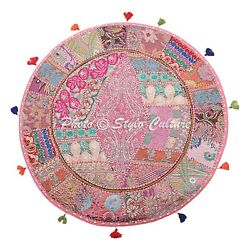 Boho Vintage Round Patchwork Floor Pillow Cover Adults Embroidered Cotton 40x40