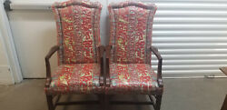 Vintage Ethan Allen Georgian Court 11-7497 Pair Asian Quilted Fabric Chairs