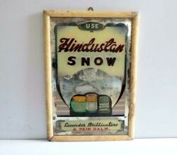 Vintage Rare Hand Art Glass Painting Ad Hindustan Snow Pain Balm Collectible