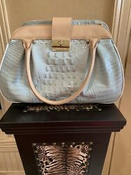 Nwt Brahmin Laura Tri-color Sea-glass And Tan Melbourne Leather Satchel