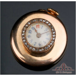Antique 18k Gold Buttonhole Watch With Real Diamonds. France Circa 1880