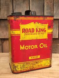 Cool Vintage 2 Gallon Road King Acme Motor Oil Tin Can Gas Service Station