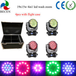 Us Aura19x15w 4in1 Led Wash Zoom Moving Head Light Dmx512 4pcs Road Case Package