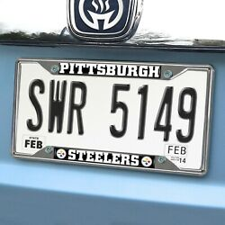 Pittsburgh Steelers EZ View Chrome Metal License Plate Frame