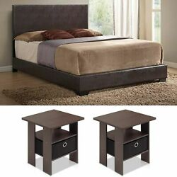 Queen Size Leather Bedroom Set Bed Modern Brown Furniture End Tables 3 Piece