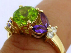 R233 Genuine 9k Or 18k Gold Natural Peridot, Amethyst And Diamond Suffragette Ring