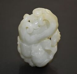 Finely Chinese He Tian Jade Carved Fo Shou Buddhaand039s-hand Pendant H 6.6 Cm