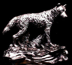 Michael Ricker Pewter Standing Wolf Sculpture Signed 1996 And Numbered 723/850 Euc