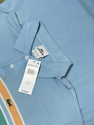 New - Lacoste Multicolor Stripe Short Sleeve Polo Rugby Shirt Menandrsquos 6. A276