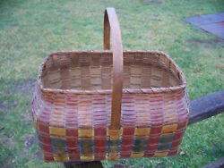 Penobscot Indian Painted Splint Ash Basket With Bright Contrasting Bands C 1880s