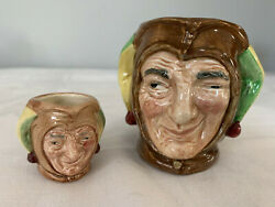 2 Small Royal Doulton Pitcher Figurine Jester D. 6953 And Jester 5