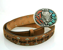 9238 - Estate Vtg Sterling Turquoise And Coral Bison Buckle And Leather Belt Signed