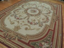 10x14 10x13 French Aubusson Needlepoint Area Rug Floral Beige Brown Red Green
