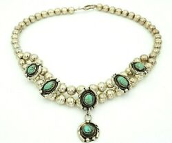 Vintage Native American Navajo Sterling Silver Bead Turquoise Necklace