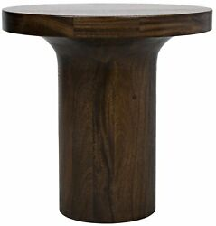 20 W Set Of 2 Accent Table Solid Natural Wood Pedestal Modern