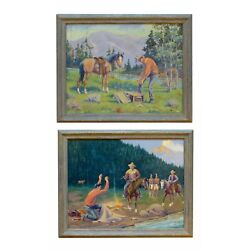 """""""the Loot And The Capture"""" By August Curley Lenox Oil On Canvas"""