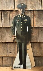 Vintage 1970 Us Army Military Recruiting Die Cut Easel Black Americana Sign 24andrdquo