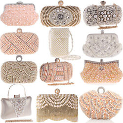 Pearl Handbags Evening Bags Wedding Clutch Party Purse Womens Envelope Crossbody $25.41