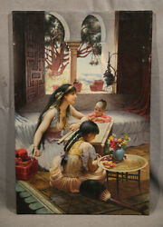 Antique Painting Beautiful Middle Eastern Lady Islamic Arabic Children Interior