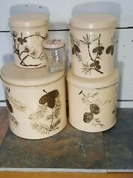 4 Vintage Nesting Tin Canisters Peach Pine Cone Hand Painted With Glass Jar