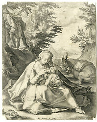Antique Master Print-holy Family-rest On Flight To Egypt-goltzius-matham-1589