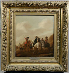 Dutch Hunting Scene Men on Horses with Dogs in Landscape Setting