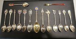 Lot Of 15 Vintage Sterling Silver Souvenir Spoons And Fork Commemorative Figural