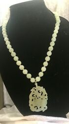 Authentic Rare 19th Century Chinese Mutton Fat Jade Necklace Pendant 11mm Beads