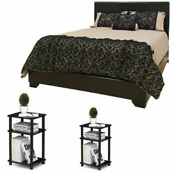 Bedroom Set Furniture Queen Size Leather Black Bed 3 Piece Nightstand Modern New